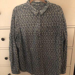 Denim tribal print shirt size 3X